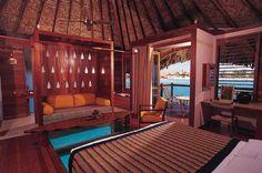 Le Meridien Bora Bora with glass panel in floor to view the sea life.  ASPEN CREEK TRAVEL - karen@aspencreektravel.com