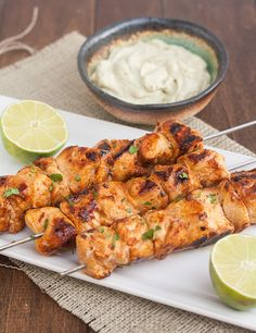 Tracey's Culinary Adventures: Chipotle Chicken Kebabs with Avocado Cream Sauce