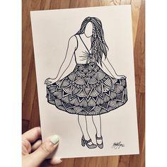 put my own little spin on @blakelively's instagram post of her new & adorable @preserve_us dress she co-designed! #art #zentangle #zenspire #blynndesigns #sharpie #design #blakelively #PRSRV
