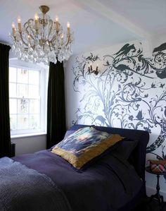 This dramatic bedroom belongs to artist Rory Dobner. via Livingetc house tours