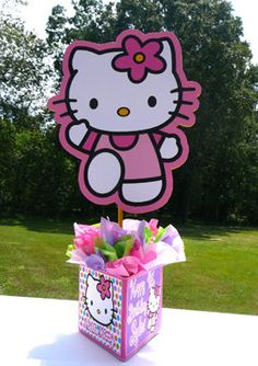 DIY  Hello Kitty Birthday Party Centerpieces baby shower, purple polka dots and stripes. $10.00, via Etsy.