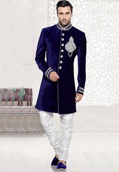 Zardosi Embroidered Velvet Sherwani in Royal Blue: MCD2769