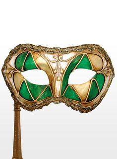 Colombina arlecchino verde con bastone - Venezianische Maske                                                                                                                                                                                 Mehr