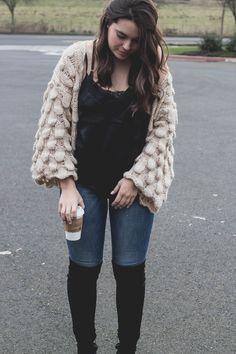 How to Wear It Wednesday: Chunky Knit Cardigan - My Sweet Genevieve