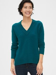 Shop Gap's Boucle V-Neck Sweater: Soft, textured wool-blend boucle knit. Long sleeves with ribbed cuffs., Wide ribbed-knit trim at V-neck. Gap Outfits, Fashion Outfits, Gap Women, Fall Winter Outfits, Teal Blue, Wool Blend, Sweaters For Women, V Neck, Clothes For Women