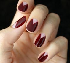 burgundy nails with bare triangle moons // mani