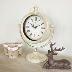 NEW IN - Cream Swinging Mantle Clock.. See more at www.melodymaison.co.uk