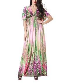 Pink & Green Floral Cape-Sleeve Maxi Dress - Plus Too