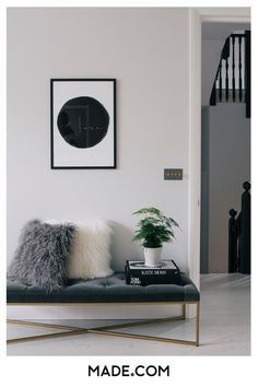 Hallway styling at its finest with our concrete grey Julianne ottoman bench with brass slim legs.Step inside the South West London Home of Sommer Pyne to see more interior inspiration.