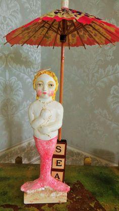 HOLD for R Nostalgic Folk Art,Carol Roll,paper mache mixed little mermaid, beach cottage decor,mermaid folk art by NostalgicFolkArt on Etsy