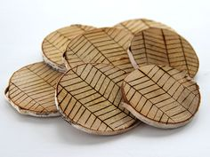 DIY Etched Birch Coasters With a Herringbone Pattern >> http://blog.diynetwork.com/maderemade/how-to/diy-etched-birch-coasters/?soc=pinterest
