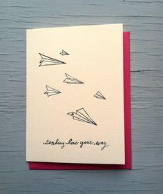 tarjeta de impresión tipográfica enviando amor tu por wolfandwren, $6.00