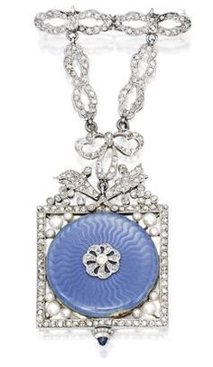 Platinum, Enamel, Diamond and Pearl Lapel Watch, Retailed by Tiffany The circular dial with Arabic numeral indicators, applied with guilloché translucent blue enamel, within a square-shaped frame decorated with and suspended by ribbon bow motifs, the corners accented by 12 seed pearls, set with old European and rose-cut diamonds, completed by a cabochon sapphire crown, circa 1910.