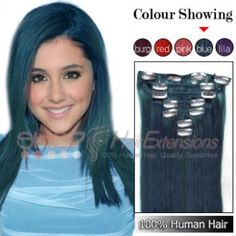 20 Inches 7pcs Clip-in Human Hair Extensions Straight Blue