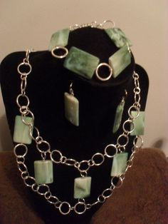 3 Piece Green & Silver Necklace Set, Bracelet  & Earrings #ShesGifted