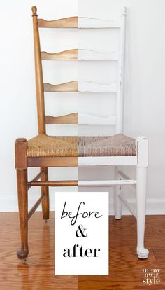 Part Dining Room Chair Makeover – Furniture Makeover & Furniture Design Distressed Furniture, Repurposed Furniture, New Furniture, Furniture Making, Living Room Furniture, Furniture Design, Painted Furniture, Furniture Ideas, Painted Chairs