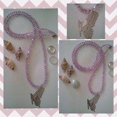 Long Purple necklace with a Silver Butterfly and Silver tiny beads by Be Serendipity!