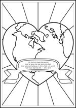 FREE Printable Christian Bible Colouring Pages For Kids John 316 Heart