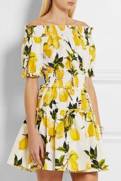 Dolce & Gabbana   Smocked printed cotton-poplin mini dress   NET-A-PORTER.COM