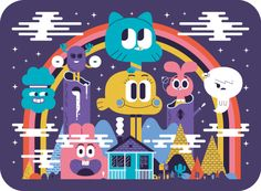 these characterful Cartoon Network illustrations Le Monde Incroyable de Gumball - Poster by Andrew GrovesLe Monde Incroyable de Gumball - Poster by Andrew Groves Andrew Groves, Gumball Image, Cartoon Network Characters, Care Bear Party, Good Cartoons, Fanart, World Of Gumball, Cartoon Shows, Anime