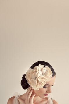 Bridal Silk Hair flowers Double Rose Adornment by AmandaMayCouture, $155.00