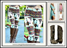 BOHEMIAN COWGIRL LEGGINGS Multi Color & Native American Pattern Leggings Cowgirl Style Outfits, Rodeo Outfits, Cowgirl Fashion, Boho Fashion, Fashion Outfits, Fashion Ideas, Spring Fashion, Winter Fashion, Western Wear