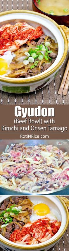 This flavorful Gyudon (Beef Bowl) topped with simmered beef, soft cooked egg, and cabbage kimchi makes a delicious and comforting meal. Entree Recipes, Asian Recipes, Cooking Recipes, Healthy Recipes, Ethnic Recipes, Japanese Recipes, Asian Foods, Japanese Food, Onsen Tamago