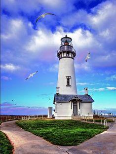Yaquina Head Lighthouse by Dana Walker - Photo 100178927 - Lighthouse Painting, Lighthouse Pictures, Beacon Of Light, Beacon Of Hope, Water Tower, Strand, Coastal, Beautiful Places, Scenery