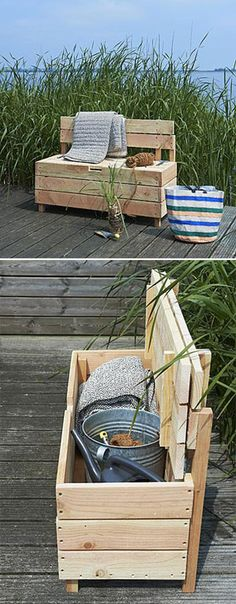 Small wooden storage bench...you could use pallet wood for this. Totally love this idea. Awesome for kids to have in the garden/yeard. After they are done playing with their toys just put them in the bench & done! So going to make this.