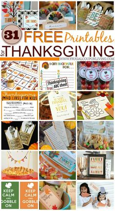 31 FREE Printables for Thanksgiving on Frugal Coupon Living. Love these DIY Thanksgiving craft and other activities!