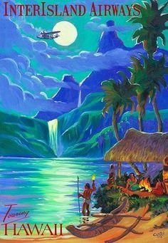 Vintage travel poster Hawaii.