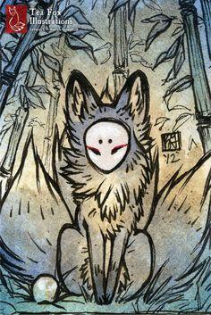 Three Tails / Kitsune Fox Spirit Yokai / by TeaFoxIllustrations