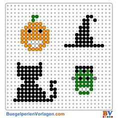 Halloween Bügelperlen Vorlage. Auf buegelperlenvorlagen.com kannst du eine große Auswahl an Bügelperlen Vorlagen in PDF Format kostenlos herunterladen und ausdrucken.