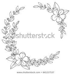 Shutterstock koleksiyonunda bunu ve milyonlarca diğer telifs Floral Embroidery Patterns, Hand Embroidery Designs, Embroidery Art, Flower Patterns, Embroidery Stitches, Bullet Journal Art, Bullet Journal Inspiration, Wreath Drawing, Karten Diy