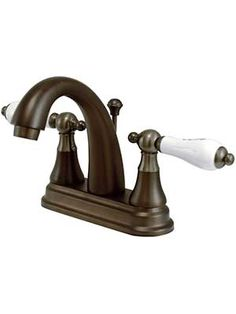 Delaware Centerset Bathroom Faucet with White Porcelain Levers   House of Antique Hardware