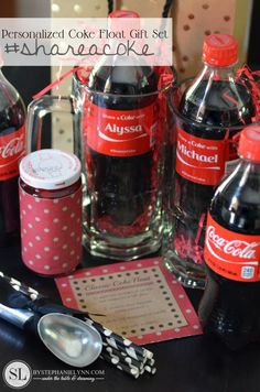 Personalized Coke Float #Gift Set #shareacoke | share a coke with free printables - @cocacola #shop #shareitforward