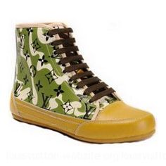 Louis Vuitton Men Mid Top Sneaker Orange Green