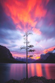 Sunset at Lake Minnewanka - Isle of Skye, Scotland  by Callum Snape