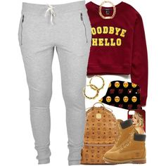 A fashion look from September 2014 featuring Forever 21 sweatshirts, Timberland ankle booties and MCM backpacks. Browse and shop related looks.