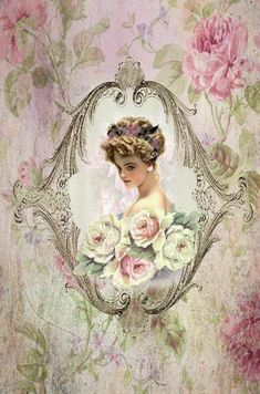 Vintage shabby chic decoupage art image of Victorian woman holding pink roses in lovely frame print printable. Decoupage Art, Decoupage Vintage, Vintage Ephemera, Vintage Cards, Vintage Postcards, Vintage Diy, Vintage Rosen, Vintage Paper, Vintage Ladies