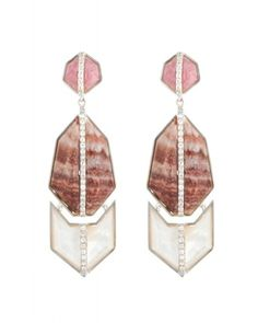 Kara Ross: Triple GEO Arrow Earrings, Sterling Silver with Rhodocrosite, Mother of Pearl, Red Zebra Jasper, and White Sapphire Pave