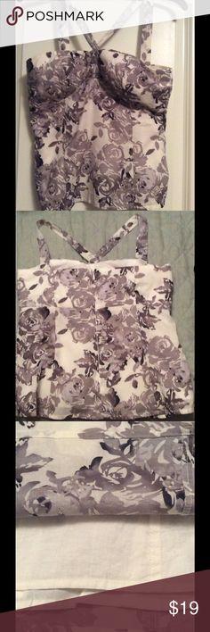 White House Black Market Top XS Floral cotton XS halter top. Lined. Pretty! Cotton White House Black Market Tops Camisoles