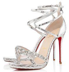 5375d2007d91 Christian Louboutin Monocronana Sandals Silver Python Stiletto Shoes