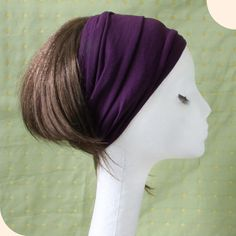 My head would love this:)   Rayon jersey wide Yoga headband Purple by Mercato on Etsy, $14.00