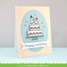 Lawn Fawn - Happy Wedding, Pint-sized Patterns Beachside, Let's Polka Mon Amie Vanilla Polka, Stitched Oval Stackables_ card by Chari for Lawn Fawn Design Team