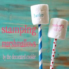 HOW TO STAMP MARSHMALLOWS: Use rubber stamps and food coloring pens to stamp sayings on marshmallow pops. Fun food idea for parties. Marshmallow Crafts, Marshmallow Pops, Edible Crafts, Edible Food, Food Coloring, Cookie Decorating, Cake Pops, Cupcake Cakes, Cupcakes