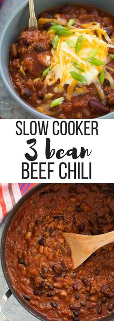 "This Slow Cooker Three Bean Beef Chili is a hearty, but so easy protein loaded meal for any night of the week! A microwave shortcut makes makes it a one pot meal and cuts down on prep time. Includes how to recipe video | easy recipe | dinner "" high protein 