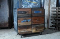 Calabar Urban Reclaimed Wood & Cast Iron Six Drawer Chest