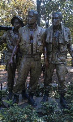 Statue at Viet Nam War Memorial Re-Open our War Memorials.  Never Again! For you Dad!