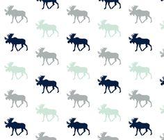 Multi Moose // Northern Lights - Grey/Mint/Navy fabric by littlearrowdesign on Spoonflower - custom fabric